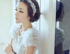 Women BOHO Crystal Rhinestone Bling White Lace Bride Hair Headband Head band