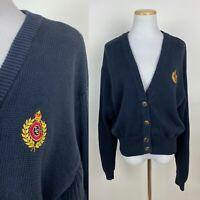 VTG 90s Crest Embroidered Cardigan Sweater L Navy Blue Cotton V-neck Minimalist