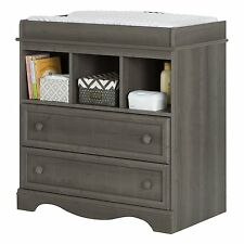South Shore Savannah Changing Table with 2-Drawers, 3 Open Storage in Gray Maple