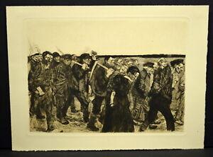 "Kathe Kollwitz 1940s Etching ""March of the Weavers"""