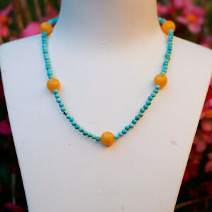 AD106 Natural Baltic Honey Amber w/natural Turquoise necklace silver clasp 43cm