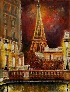 YARY DLUHOS ORIGINAL OIL PAINTING Paris Late Night City Lights Eiffel Tower