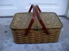 1950's Tin Picnic Basket Storage Biscuit Box Container Woven Pattern Oak Handles