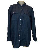 Talbots women's denim shirt size 14 W blue Jean button up cotton Plus