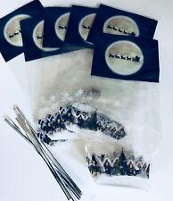 6 x CHRISTMAS cellophane TREAT bags with card bottom SANTA & XMAS VILLAGE SCENE