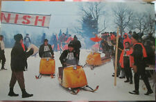 c1960s Snowmobile Racing in Adirondack Mtns NY postcard - Bombardier SKI DOOs!!