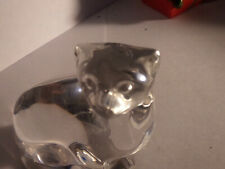 Villeroy & Boch Crystal Clear Glass Sitting Cat Figurine Paperweight