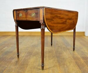 Antique inlaid mahogany Pembroke occasional side table with drawer
