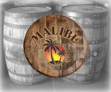 Rustic Home Bar Decor Malibu Island Rum Barrel Lid wood Wall Art Accessories