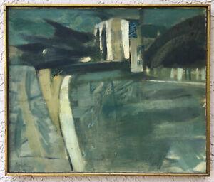 ABSTRACT OIL Exhibited ~ DANIEL BRUSTLEIN ~ 1961 Saidenberg Gal. MID-CENTURY Mod