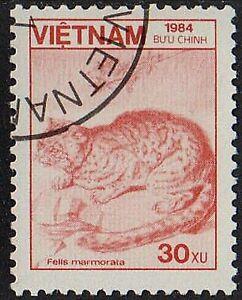 VIETNAM 1984 Animals Marbled CAT FELIS MARMORATA 30 xu /Mi:VN 1530/ Used STAMP