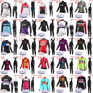 Winter bike Cycling Jersey Bib Pants Set Women's Thermal Fleece Bicycle Clothing