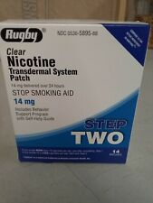 Rugby Nicotine Patch Step 2 (14mg) Clear  1 box 14 patches exp.2/21+