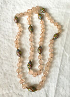 Antique Rose Quartz & Cloisonne Bead Necklace