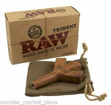 RAW Trident Wooden Cigarette Holder With Pouch Bag UK