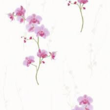 576313 Muriva Pink Orchids on White Textured Feature Wallpaper