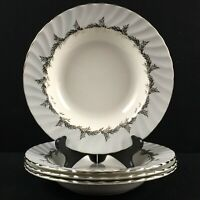 Set of 4 VTG Rim Soup Bowls EB Foley Silver Fern Platinum Trim Laurel England