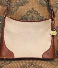 Brahmin Crossbody Vintage Canvas/Linen And Leather Purse