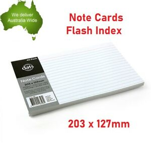 40pk Index Feint Ruled Notes Flash Card Line Paper Presentation White 200gsm