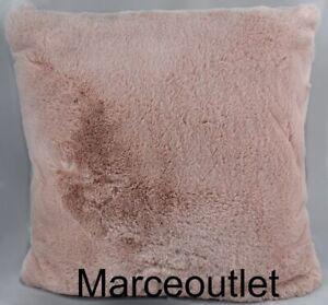 """Hudson Park Jewel Tone Faux Fur Collection 20"""" x 20"""" TWO Decorative Pillow Blush"""