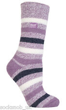 Heat Holders - Ladies / Womens Winter Warm 2.3 TOG Striped Twist Thermal Socks