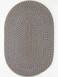 Camden Denim Blue Tweed Country Cottage Home Classic Oval Braided Rug CD96