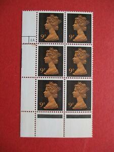 SGx882 Gr Britain 1971 9p Orange & Black 2 Phs Band Cylinder Block 8A 6B Dot MNH