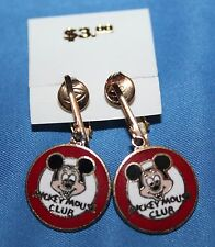 NICE VINTAGE DISNEY MICKEY MOUSE CLUB CLIP ON EARRINGS NOS