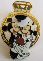 Disney Pin 56449 Diamond Wedding Ring Mickey Mouse & Minnie Mouse Pin