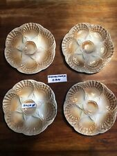 4 Oyster Plate Fruits De Mer Oester Bord Assietes Huitres Sarreguemines Vintage