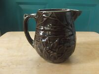 Vintage McCoy 4 3/4-Inch Brown Art Pottery Water Lily Lotus Pitcher