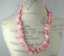 "pink shell fringe necklace 28"" small freshwater pearl spacer beads barrel clasp"
