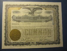 Old Vintage 1928 - BASIN CATARACT MINING - Stock Certificate - NEVADA