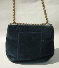 VTG Coblentz Original Navy Suede purse clutch shoulder bag w/Gold chain