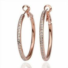 """Pretty New 9K Light Pink Rose Gold Filled Round 1.25"""" CZ Accent Hoop Earrings"""