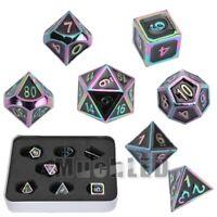 7Pcs/set Rainbow Metal Polyhedral Dice + Box DND RPG MTG Role Playing Board