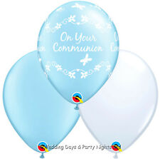 30 Boys Holy Communion Blue + White Helium / Air Balloons Party Decorations