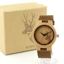 Bamboo Wooden Elk Deer Head Watch for Women Leather Band Quartz Watches as Gift