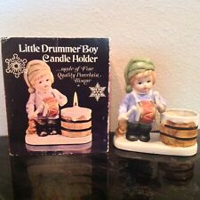 Vintage Little Drummer Boy Porcelain Candle Holder Christmas in Box Taiwan