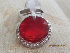 Lovely White Gold Filled  Ring with Red Swar  Crystal - Size 8