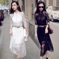 2018 New Fashion Womens Lace Dress Slim Fit Mid Long Half Sleeve Korean Spring
