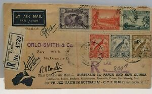 1934 Australia to Papua New-Guinea & RETURN - signed  Ulm, Allan and Boulton