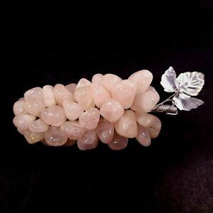 Vintage Grape Cluster Pink Rose Quartz Gem Polished Stone