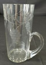 Vintage Glass Tumbler Applied Handle Etched Grape Clusters and Vine 14 ounces