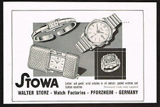 1950's Old Vintage 1957 Walter Storz - Stowa Swiss Watch Co. - Paper Print AD