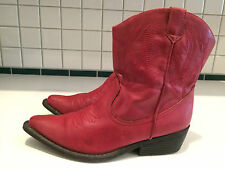 Sx Kohls Ladies Red Western Short Cowgirl Boots Size 7.5 M (Lot C)