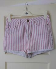 Topshop Moto high waisted denim shorts red and white stripes 32 waist