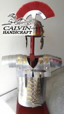 Medieval Brass Armor Muscles Jacket Roman Helmet With Red Plume Halloween Gift