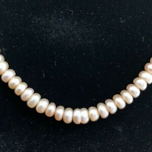 """Peach Fresh Water Pearl Necklace Cultured String Box clasp Dome Shaped 23"""" inch"""