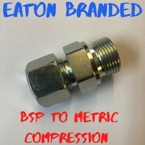 Hydraulic Adapters BSP to metric compression Eaton GEV Part Code